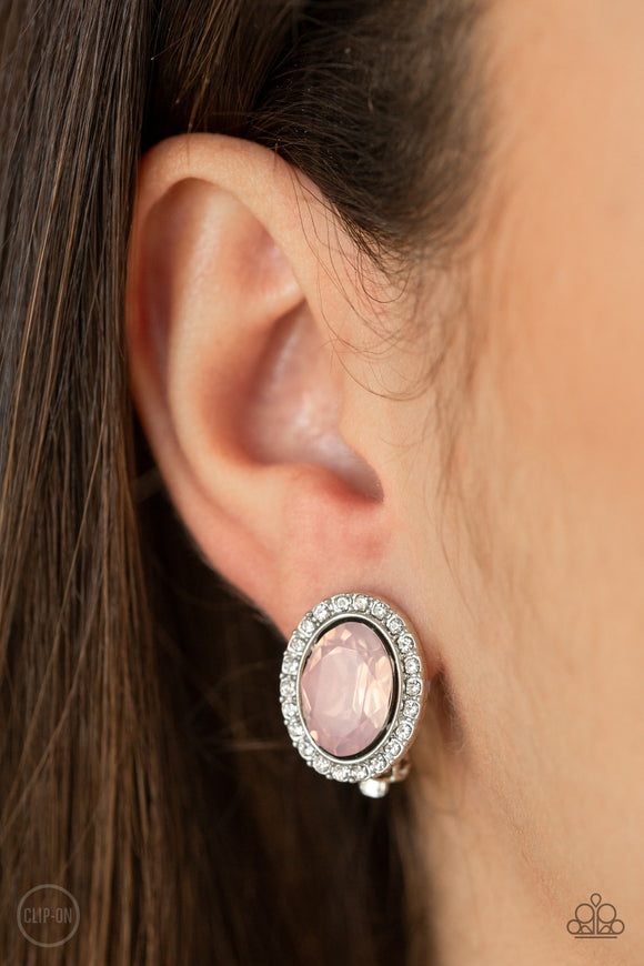 Have A GLOW At It! - Pink clip-on earrings
