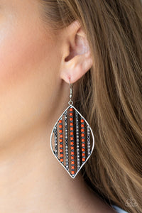 Leaf Motif - Orange earrings
