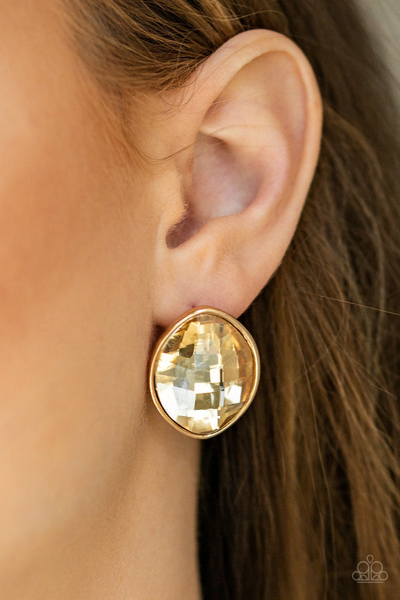 Movie Star Sparkle - Gold post earrings