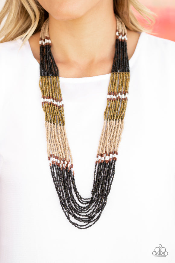 Rio Roamer - Black/ multi seed bead necklace