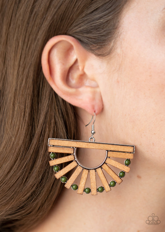 Wooden Wonderland - Green wood earrings