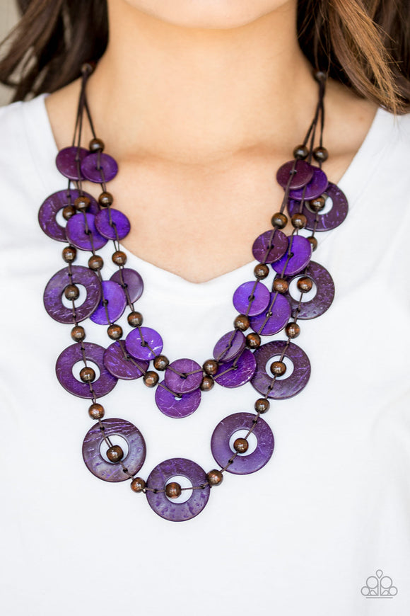 Catalina Coastin - Purple wood necklace