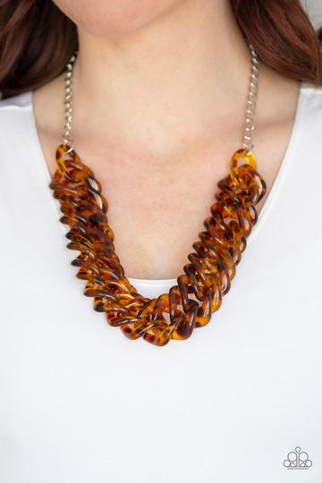 Comin In HAUTE - Brown tortoise shell finish necklace