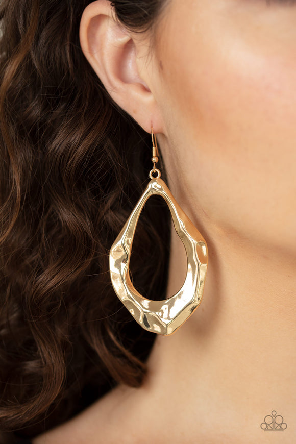 Industrial Imperfection - Gold earrings