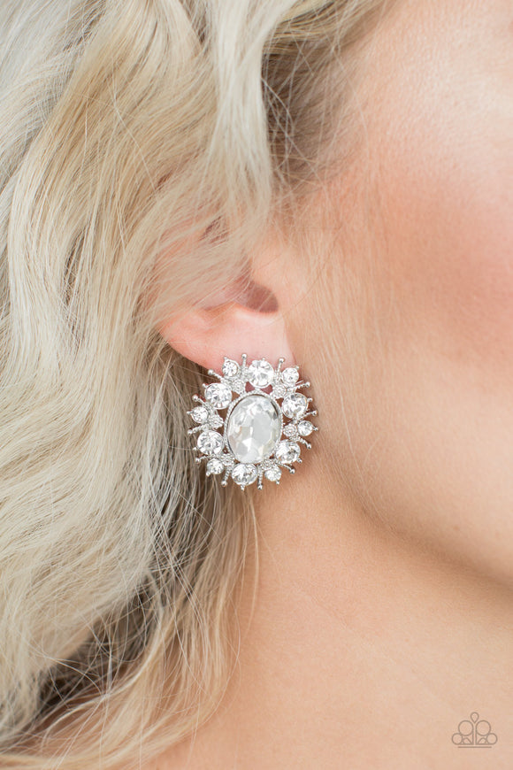 Serous Star Power- White post earrings
