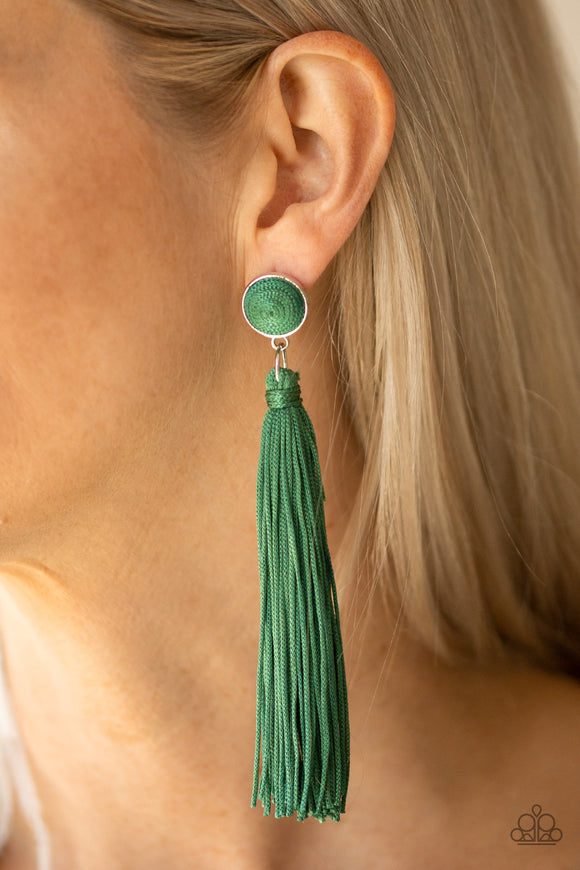 Tightrope Tassel - Green earrings