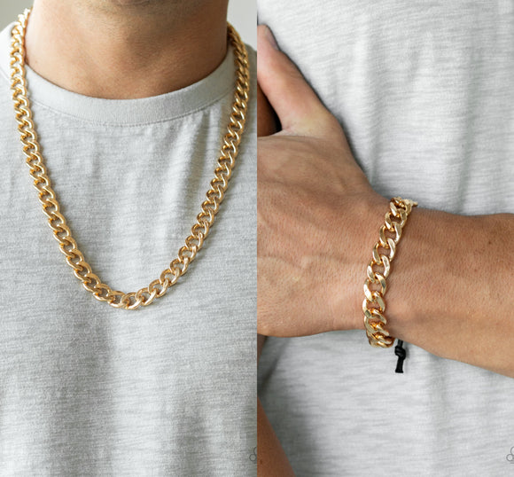 Alpha - Gold men's necklace w/ matching bracelet