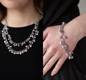 Kindhearted Heart - Purple necklace w/ matching bracelet