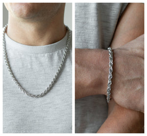 Instant Replay - Silver necklace w/ matching bracelet