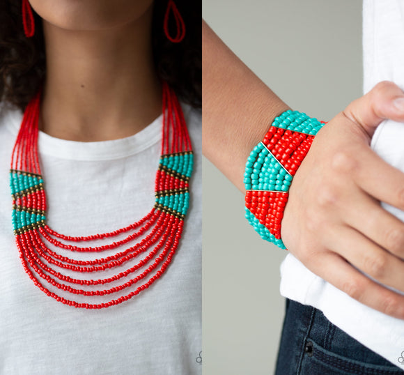 Kickin It Outback - Red necklace w/ matching bracelet