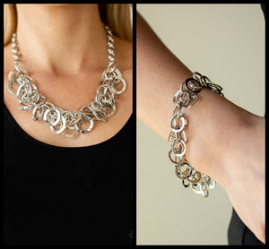 Ringing In The Bling - Silver necklace w/ matching bracelet