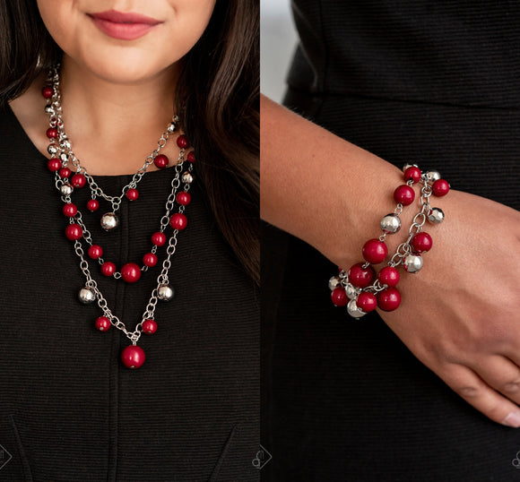 The Partygoer -Red necklace w/ matching bracelet