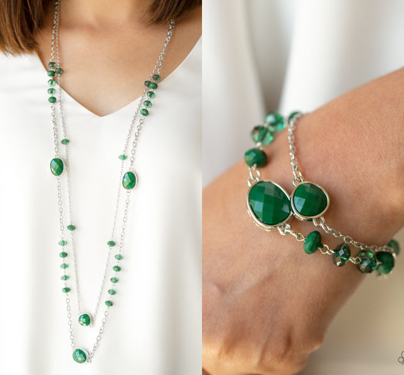 Dazzle The Crowd - Green necklace w/ matching bracelet