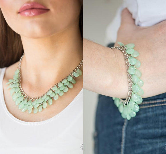 Next In SHINE - Green necklace w/ matching bracelets