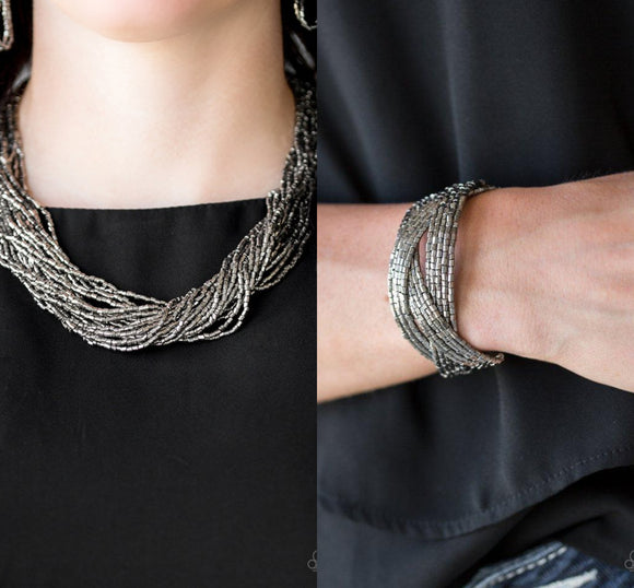 The Speed of STARLIGHT - Gunmetal necklace w/ matching bracelet