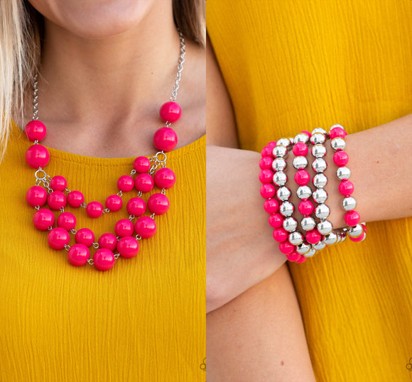 Miss Pop-YOU-larity - Pink necklace w/matching bracelet