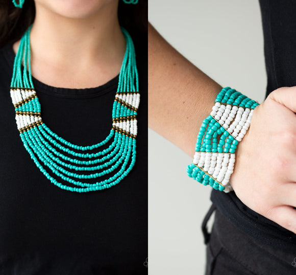 Kickin It Outback - Blue necklace w/ matching bracelet