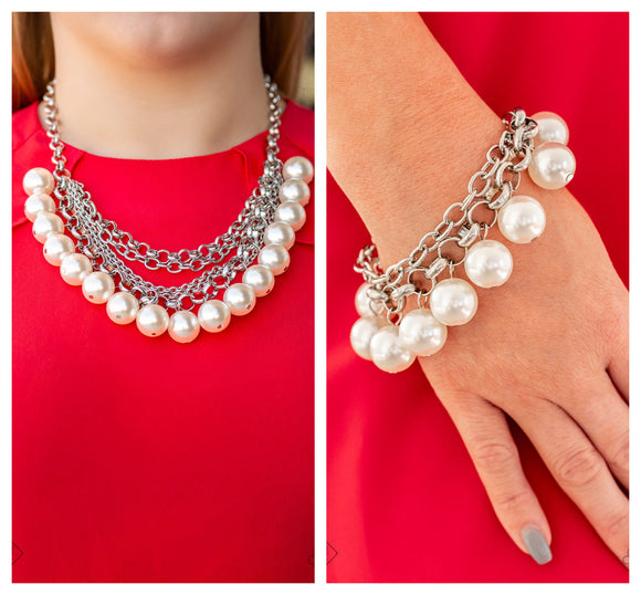 One-Way WALL STREET - White pearl necklace w/ matching bracelet
