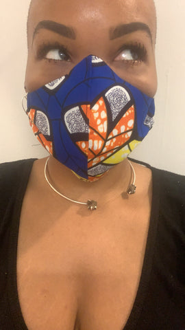 Blue Ankara Washable Face Masks