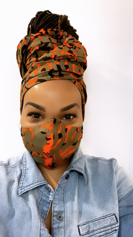 Tribal Camo Washable Face Masks+Headwrap