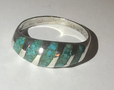 Sterling Silver Crushed Turquoise Ring Size 6