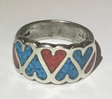 Sterling Silver 925 Heart Inlay Turquoise & Coral Ring Sz 5