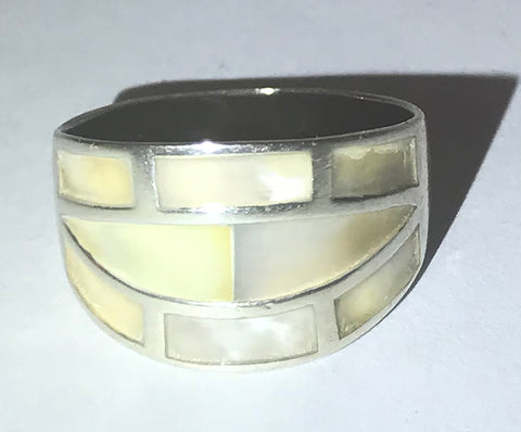 Sterling silver mother-of-pearl inlay cigar band / ring 7.25