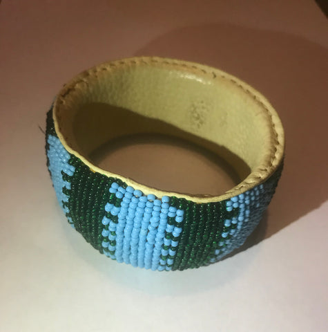 Beaded Leather Bangle Bracelet(green/blue)