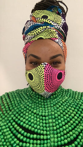 Bright-side Washable Face Masks+Headwrap