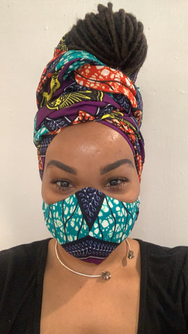 Majestic Purple Washable Face Masks+Headwrap