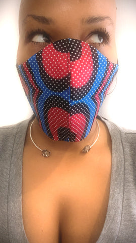 Blue/Red/Black Wax Washable Face Masks