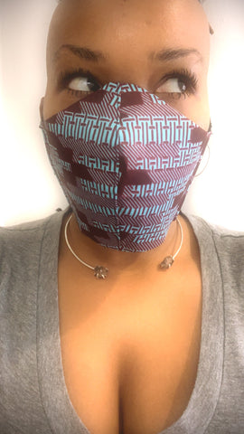 Tribe Turquoise/Maroon African Wax Washable Face Masks