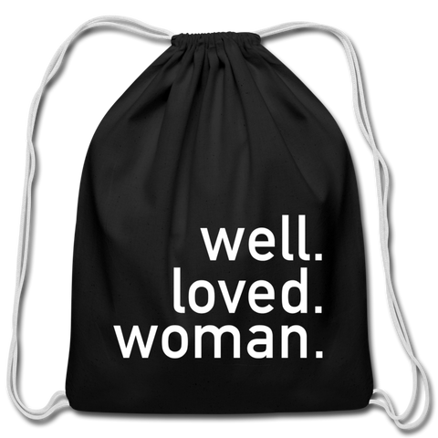 Well Loved Woman Cotton Drawstring Bag - black