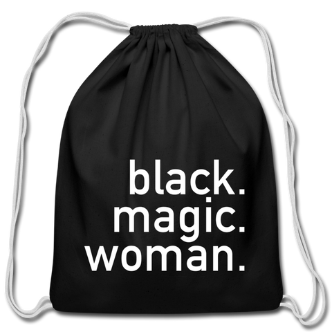 Black Magic Woman Cotton Drawstring Bag - black