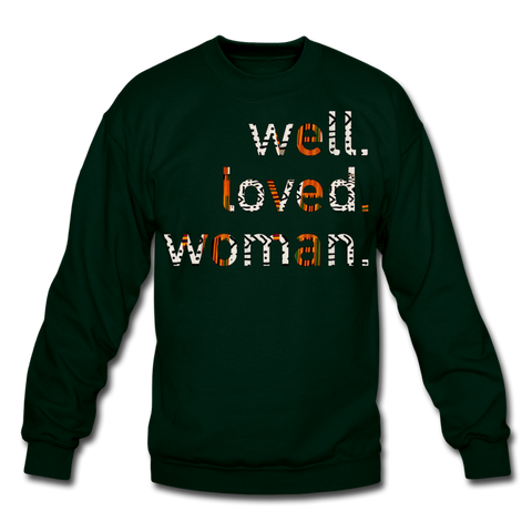 Well Loved Woman Crewneck Sweatshirt - forest green