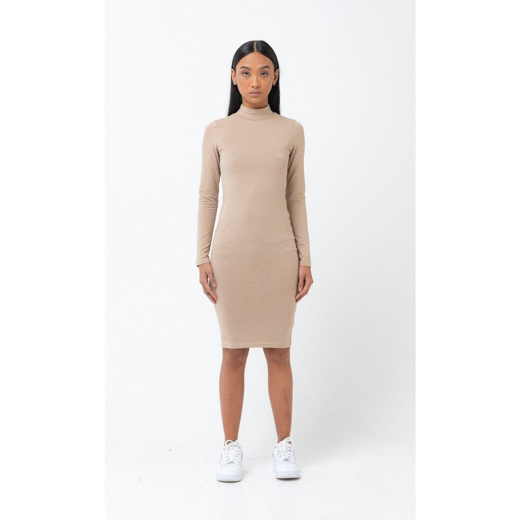 The Mock Neck Dress - Nude - THE LABEL