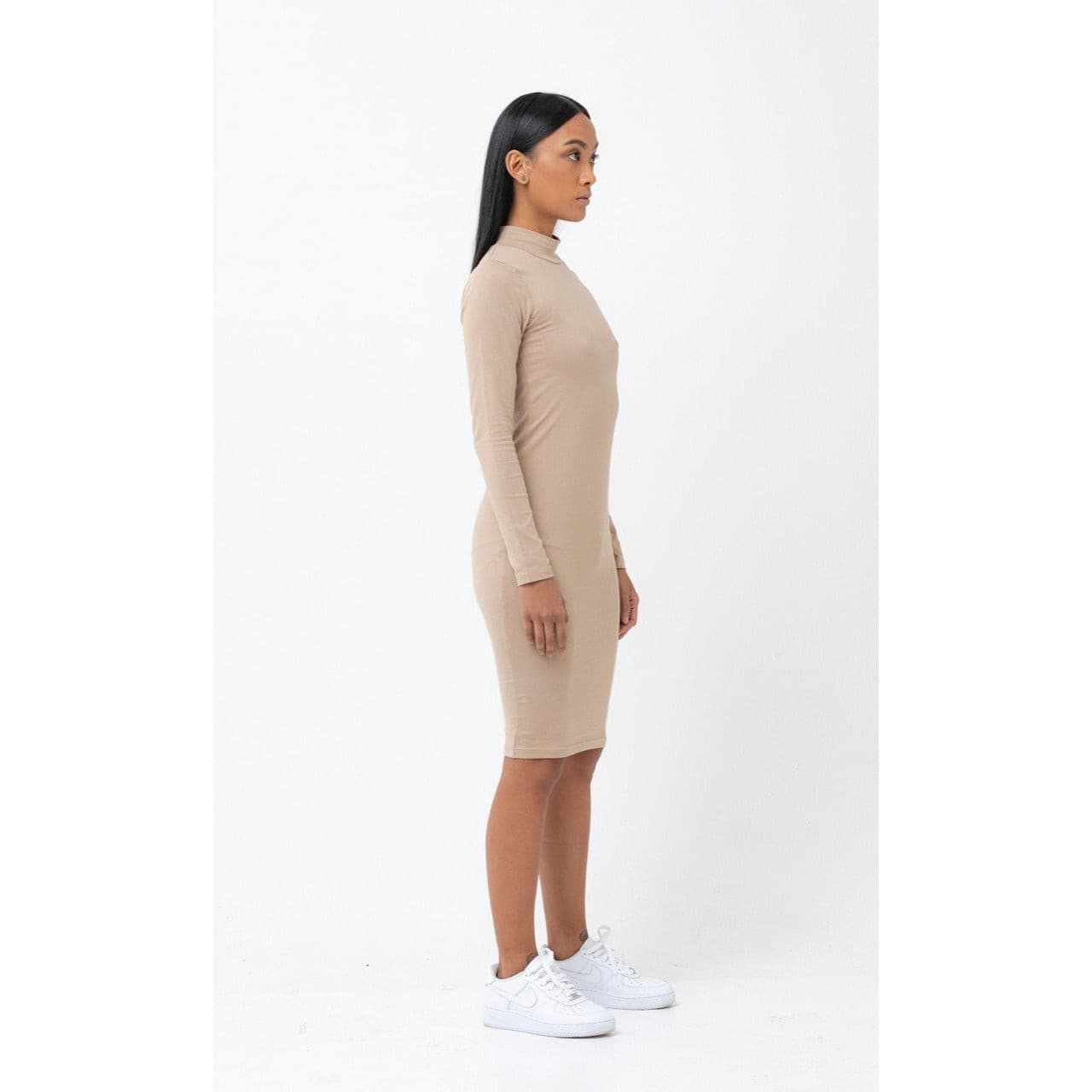 The Mock Neck Bodycon Dress in Nude