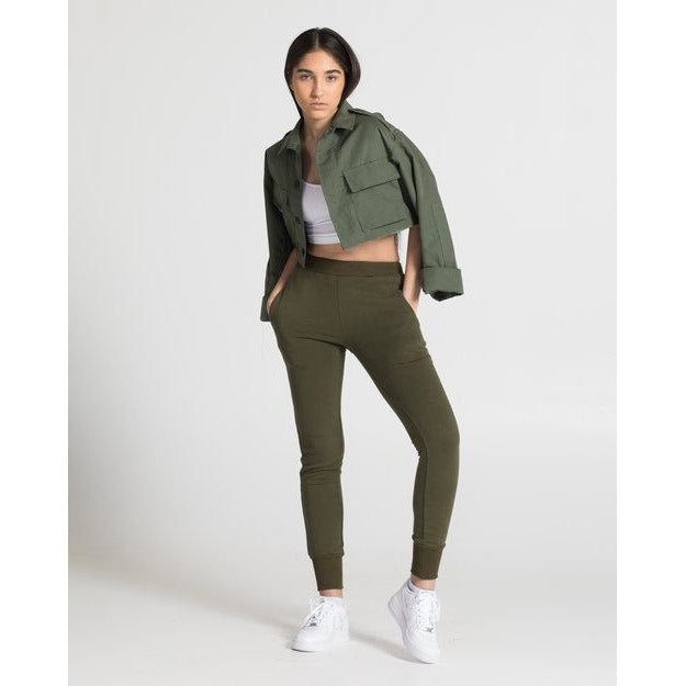 The Crop Cargo Jacket in Olive