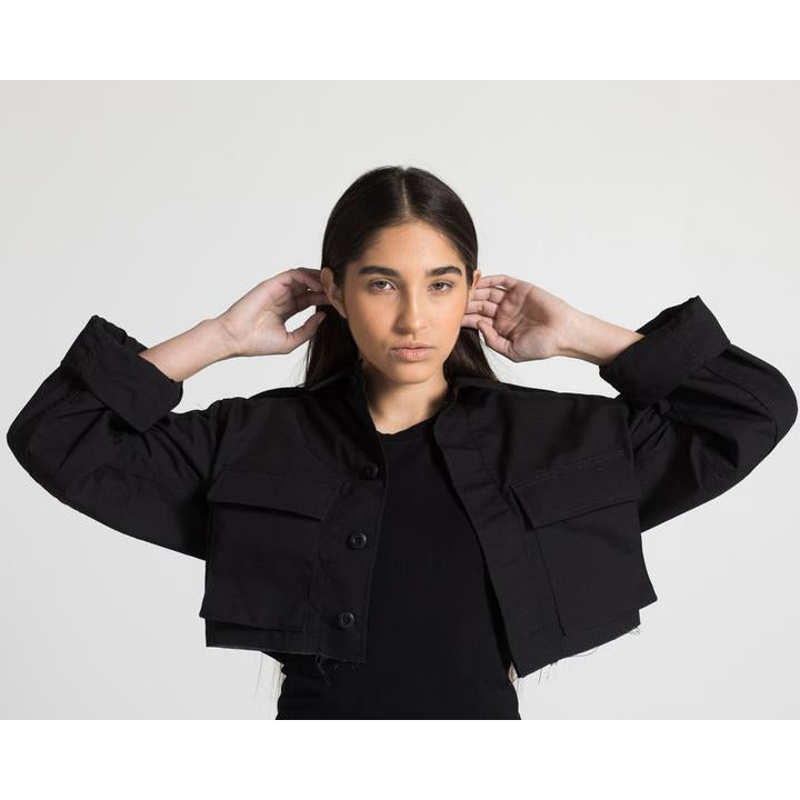 The Crop Cargo Jacket in Black