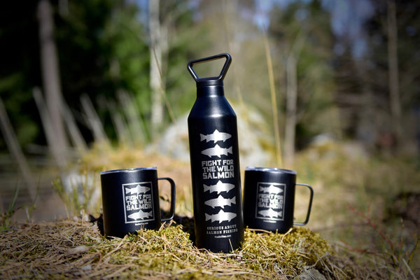 "Black ""Silver Salmon"" narrow mouth thermos bottle"
