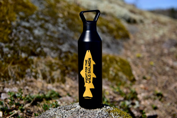 "Black ""Mustard Yellow Salmon"" narrow mouth thermos bottle"