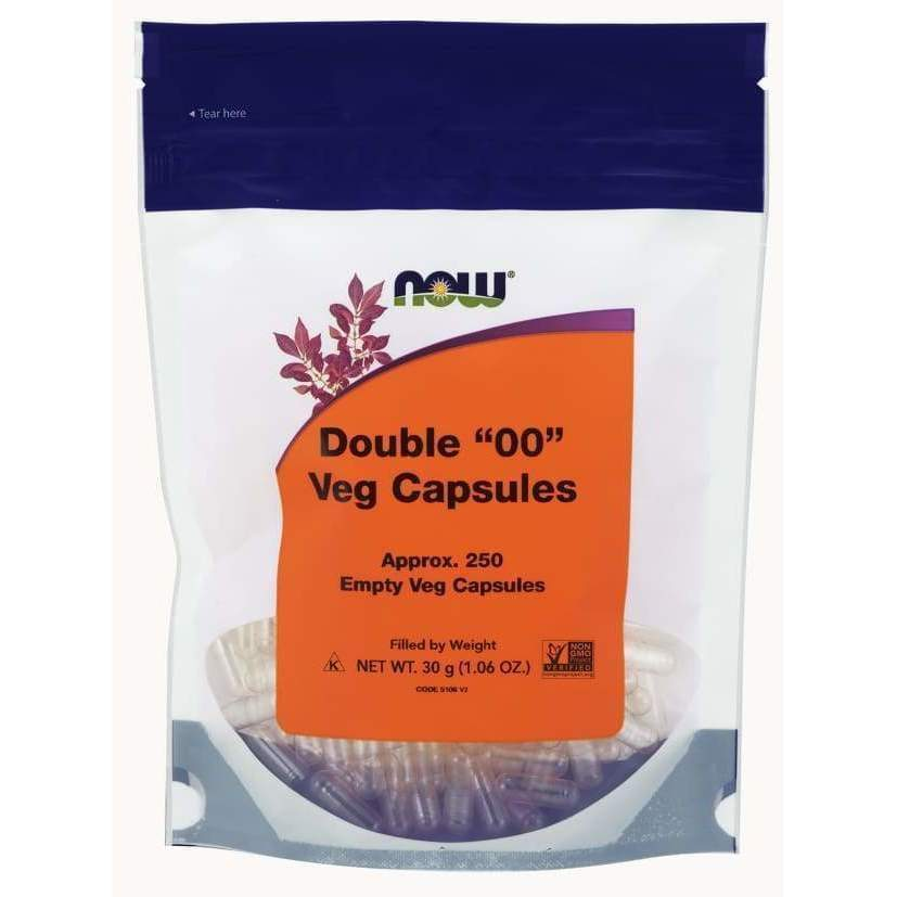 250 Empty Non-gelatin '00' Veg Caps - Now Foods - Earthly Nutrition