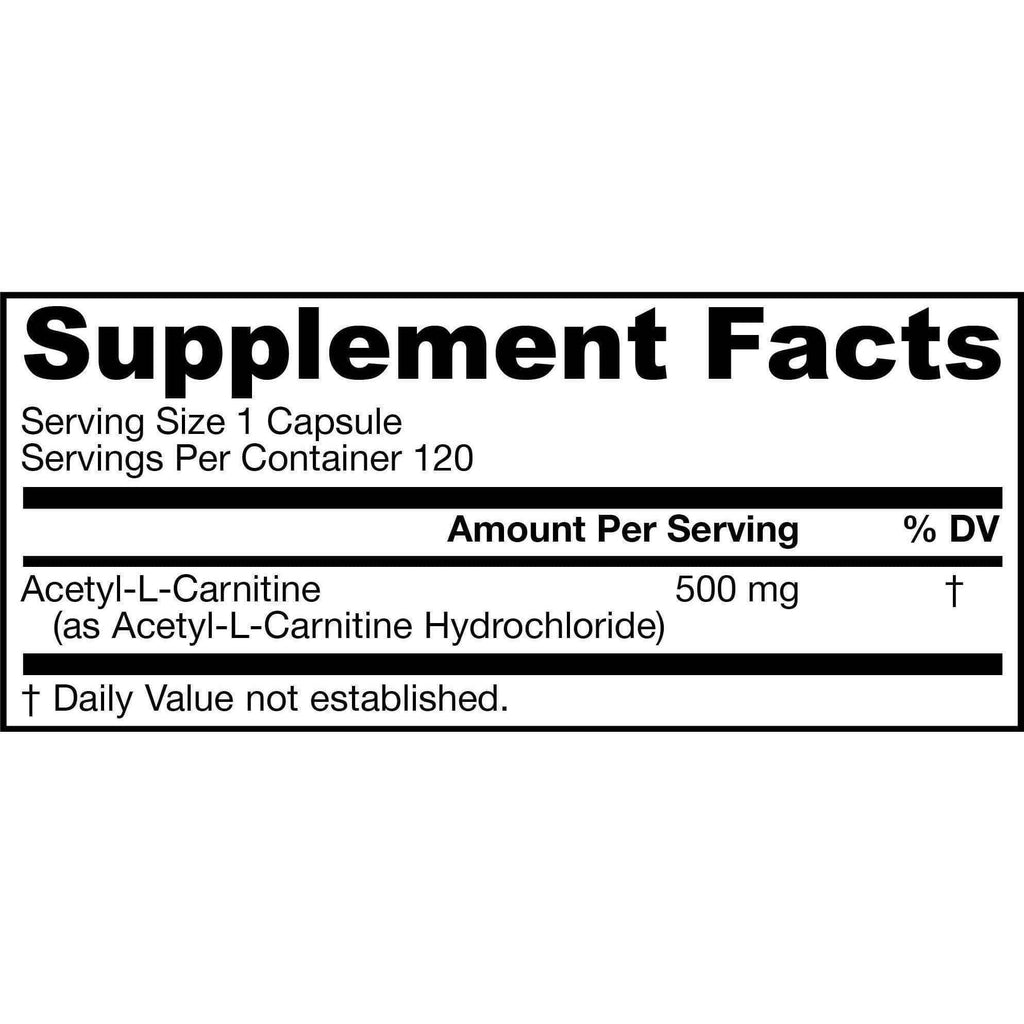 Acetyl Carnitine 500mg 120ct - Jarrow - Earthly Nutrition