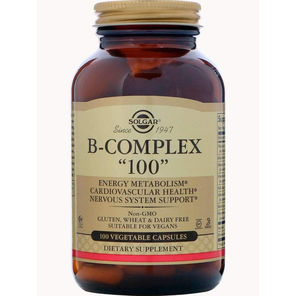 B-Complex 100, 100 Veggie Capsules by Solgar - Earthly Nutrition