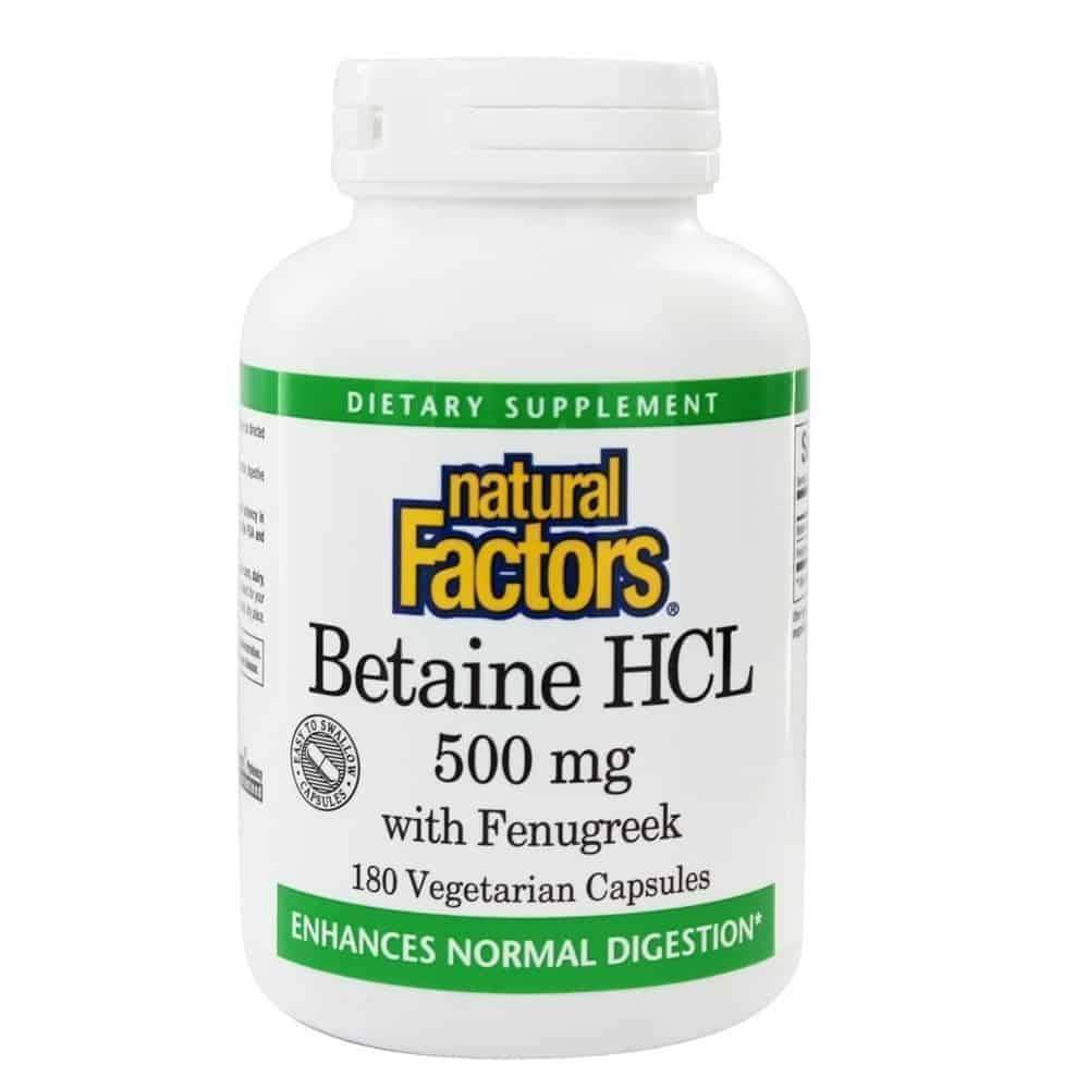 Betaine HCL 500 mg with 100 mg Fenugreek 90 Vegetarian Capsules – Natural Factors - Earthly Nutrition