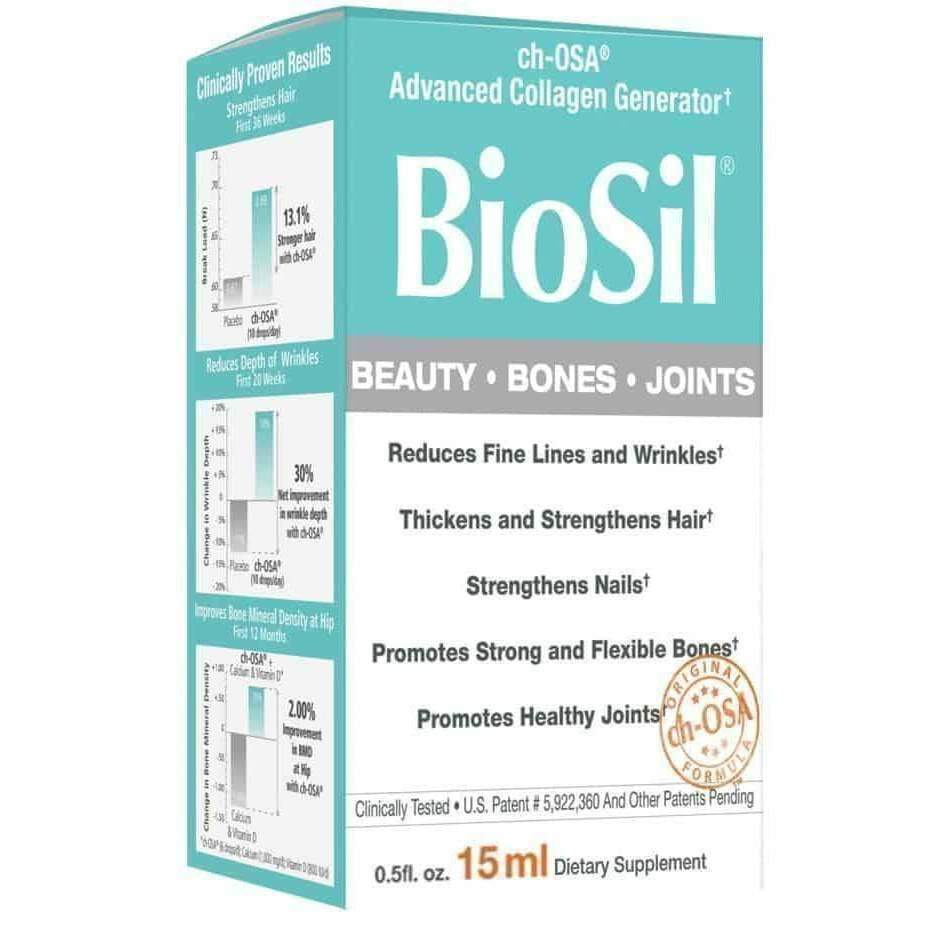 BioSil Collagen Beauty, Bones, Joints Unflavored Liquid, 0.5 oz - Earthly Nutrition
