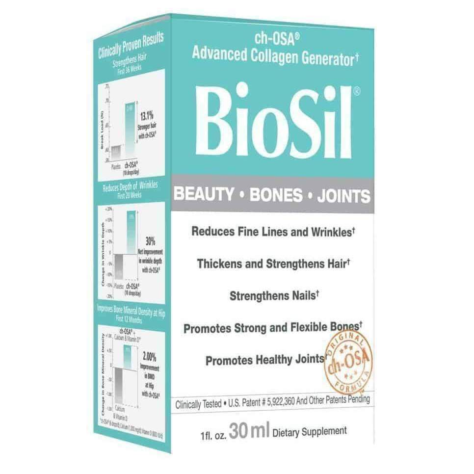 BioSil Collagen Beauty, Bones, Joints Unflavored Liquid, 1 oz - Earthly Nutrition