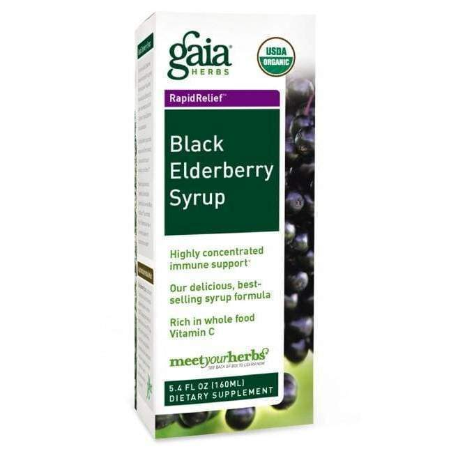 Black Elderberry Syrup 3 oz - Gaia Herbs - Earthly Nutrition