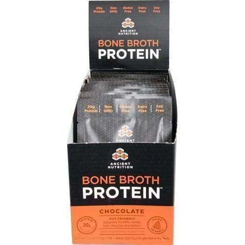 Bone Broth Protein, Chocolate - Single Serving 15 Count - Earthly Nutrition