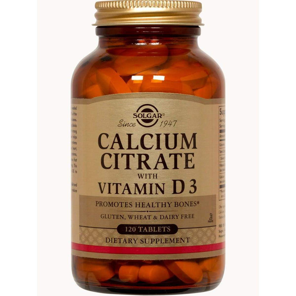Calcium Citrate with Vitamin D3 120 Tablets – Solgar - Earthly Nutrition
